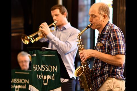 Leigh Day jazz band Permission to Appeal entertained in the Common Room